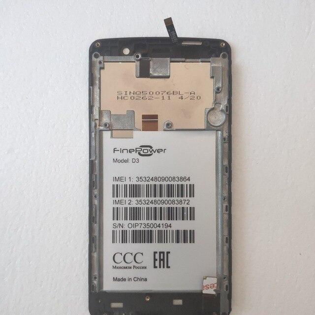 Montaje de cristal Panel de pantalla LCD para finepower D3 Digitalizador de pantalla táctil, 5,0 pulgadas, con marco de repuesto para teléfono móvil