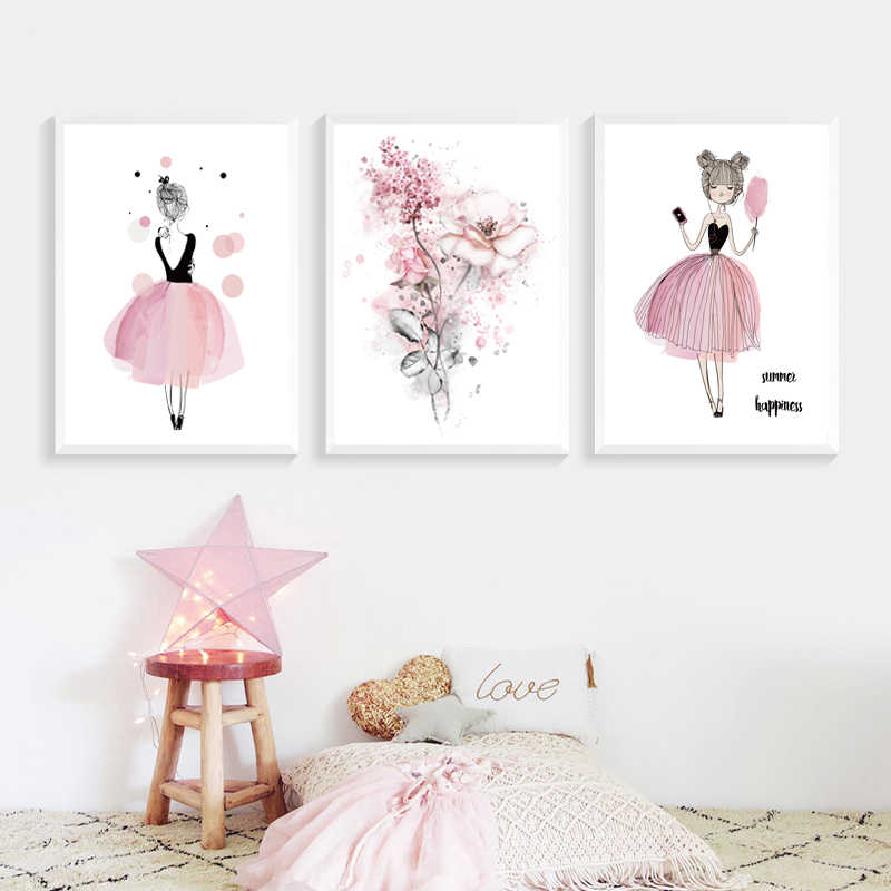 Kawaii Rose Pink Girl Style Flowers Nursery Canvas Paintings Mural Wall Art Poster Print Picture for Gifts Child Room Home Decor