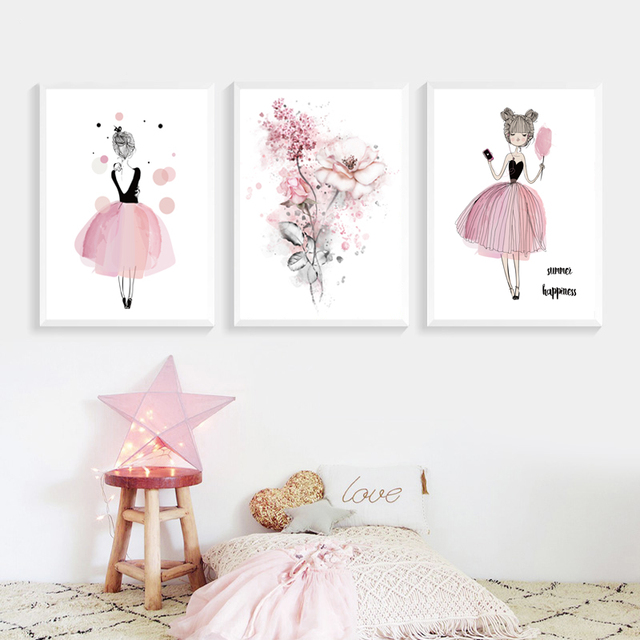 Watercolor Pink Princess Paintings Canvas Flowers Wall Art Poster Birthday Gifts Nordic Pictures For Girls Kids