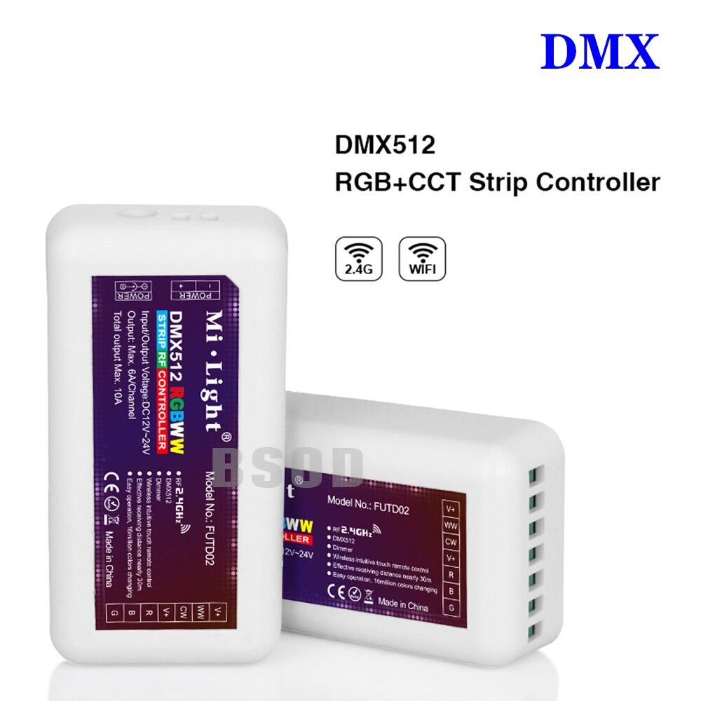 BSOD DMX512 Led Contrôleur FUTD02 RF2.4GHz RGBWW CW Sans Fil RGB CCT pour Led Bande