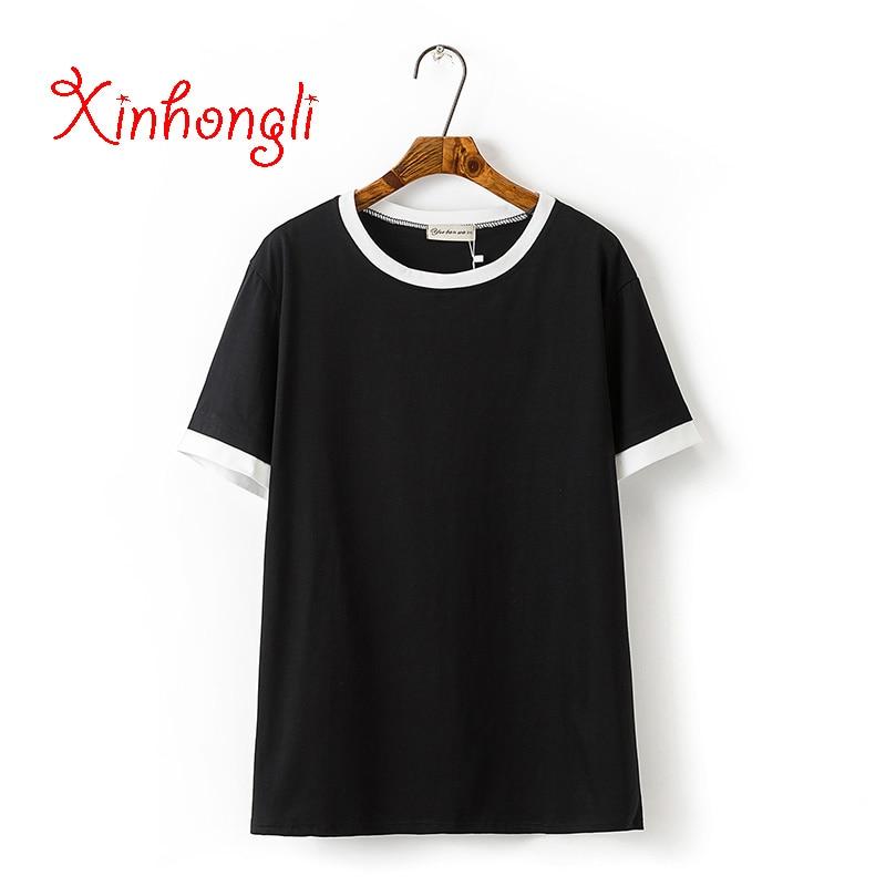 Plus size solid color cotton women Tshirts 2019 Summer ladies o-neck tees female white & black t shirt short sleeve t-shirts