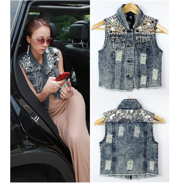 Hot Selling!Fashion Womens Sequin Bead Chain Denim Sleeveless Waist Jacket Outerwear Jean Vest