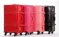 Retro travel bag trolley luggage universal wheels female red leather case married the box bags,retro travel luggage bags set