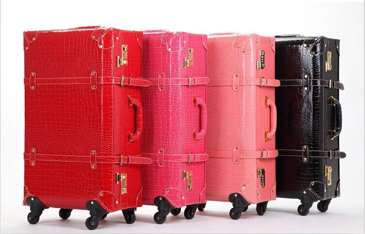 Bolsa de viaje vintage, carrito de viaje, ruedas universales, estuche de cuero rojo para mujer, caja de la caja, bolsas de equipaje de viaje retro.