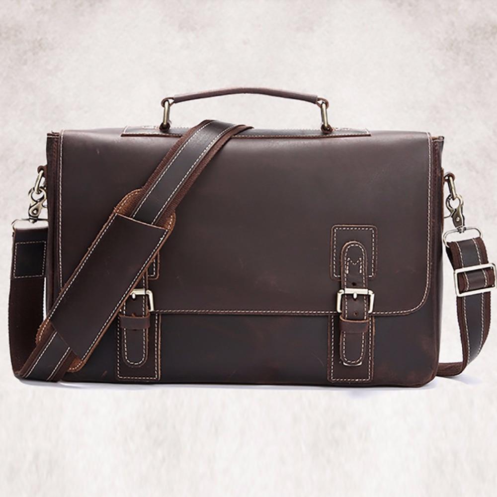Crazy Horse Cowhide Genuine Leather Men Briefcase Computer Business Shoulder Bag Vintage Messenger Bags Luxury Male Tote Handbag