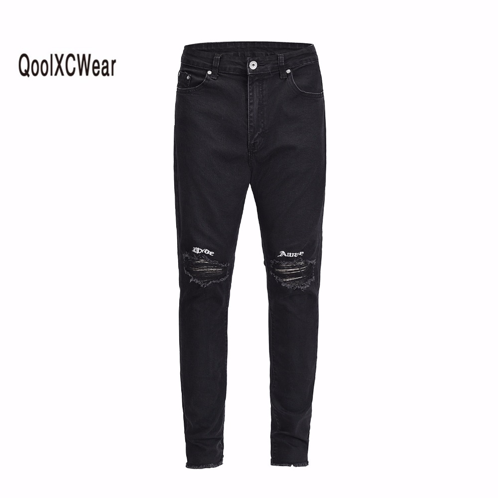 QoolXCWear 2018 High Street Skinny Men's Jeans Letter Embroidery Ripped On Knee Unlock Cuff Jeans Men Denim Pants Black