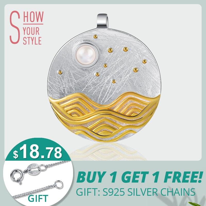 Lotus Spaß Echt 925 Sterling Silber Natürliche Handgemachte Feine Schmuck Die Moonlight Design Anhänger ohne Kette Acessorios für Frauen