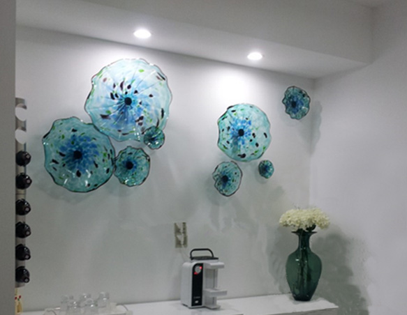 Italian Murano Blue Plates Blown Glass Wall Art Flower Plate for Gallery Decoration