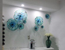 Italian Murano Blue Plates Blown Glass Wall Art Flower Plate for Gallery Decoration sea style crystal blue color aquarium and spa wall decor murano glass wall plate hand blown glass wall plate