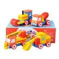 4 unids/lote moda bebé educativos de bricolaje de madera vehículos de ingeniería juguetes de junta