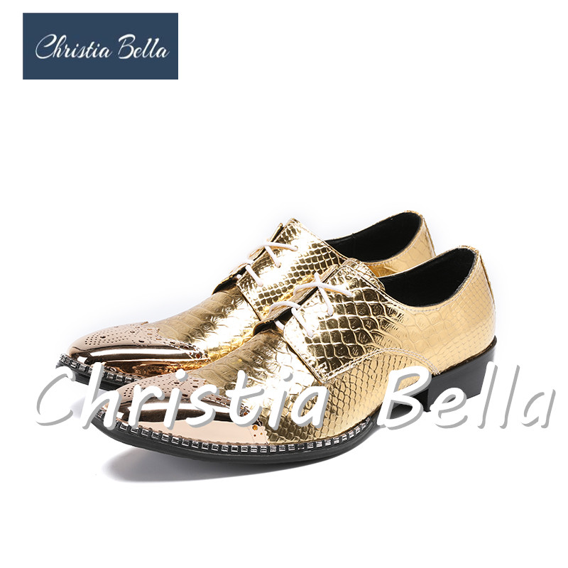 Christia Bella Men's Fashion Dress Shoes Brand Designer Gold Lace Up Wedding and Party Oxfords Shoes Stage Wear Plus Size 38-47