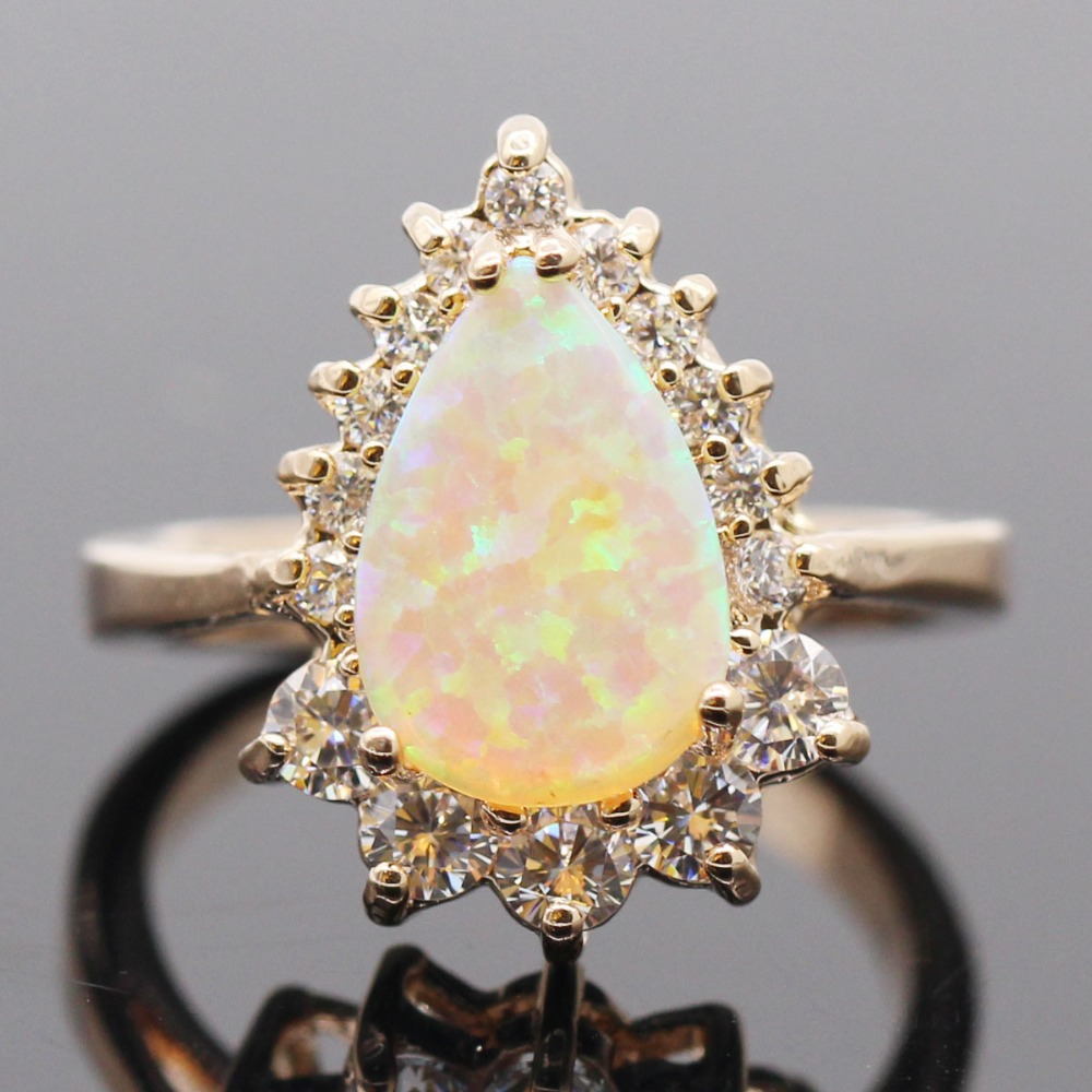 Hot Sell!Drop Yellow Opal Ring 2015 Fashion Jewelry 18K Gold Filled White Crystal Sapphire Woman Rings High quality Cute Gift