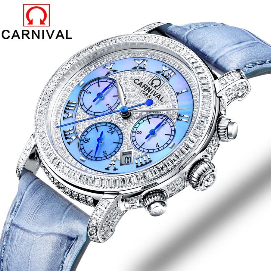 купить Carnival brand women watches skeleton mechanical watch white leather band ladies simple fashion casual clock relogio femininos по цене 27800.1 рублей
