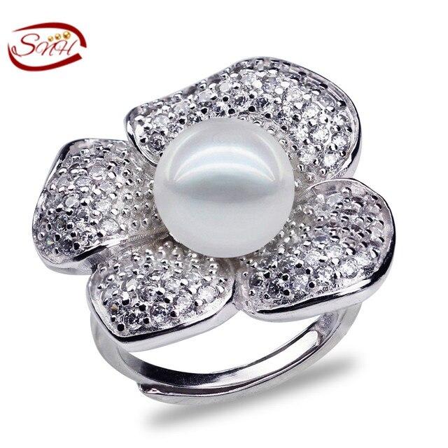 226bbcf6dee Snh 9-10mm botão aaa 925 de prata anel de pérola natural de água doce