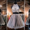 Stunning Two 2 Piece Cheap Short Homecoming Dress For Teens Short Crystals Party Cocktail Dress Vestidos Cortos De Graduacion