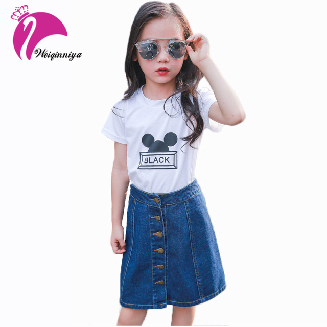 fdcf24de2a Summer Children Skirts Clothing Big Teenage Baby Girls Denim Buttons  Straight A-Line Clothing New Kids Casual Jeans Skirts Sale
