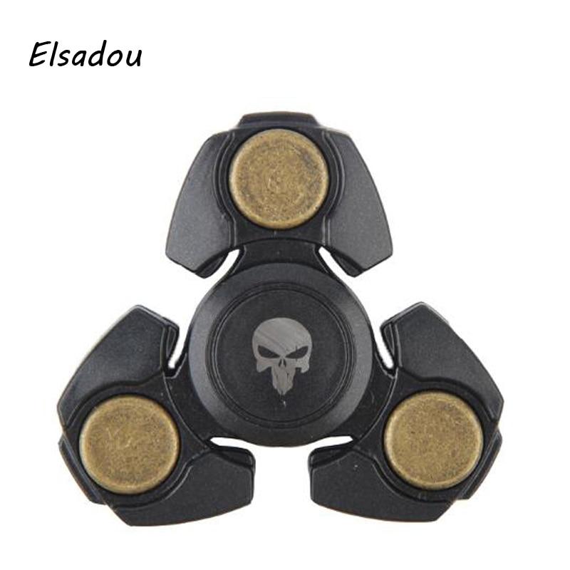 Elsadou Black Skull Plastic Copper Fidget Spinner Hand Spinner Finger Toy