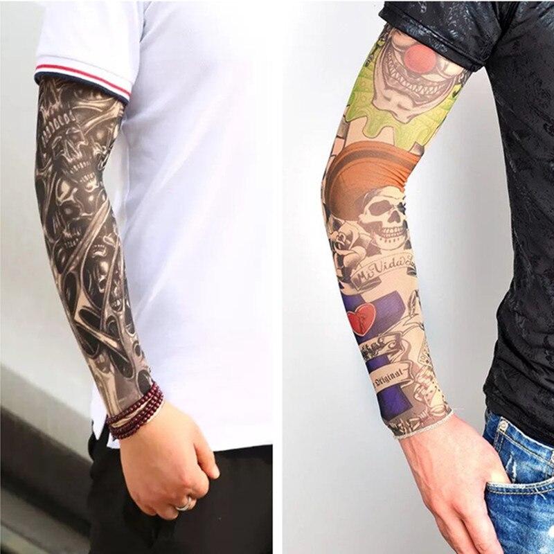 Summer Sunscreen Tattoo Sleeves Arm Warmer Unisex UV Protection Outdoor Fake Tattoo Arm Sleeve Mangas