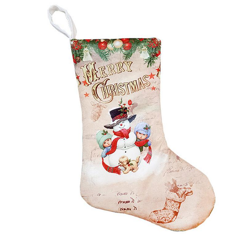 Image 3 - Christmas Stockings Pendant Cloth Ornaments Small Boots Pendant Christmas Pattern Print Party Home Decoration Supplies Gift Bag-in Stockings & Gift Holders from Home & Garden