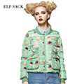 Elf SACK winter female fashion stand collar sweet print casual outerwear baseball down coat female