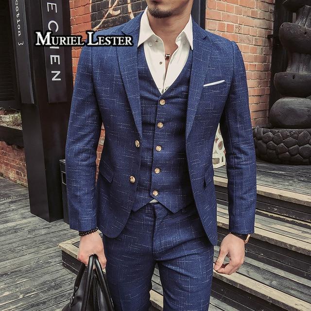 9321484c2f74 Muriel Lester Casamento Formal Fatos & Blazer Azul Marinho Homens Ternos  xadrez Moda Masculina Vestido Formal