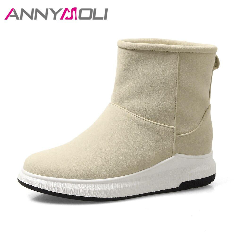 ANNYMOLI Winter Snow Boots Women Fur Warm Ankle Boots Plush Platform Flats Short Boots Ladies Shoes 2018 Black Large Size 42 43