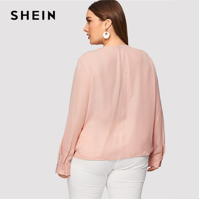 SHEIN Sexy Deep V Neck Surplice Wrap Plus Size Women Sweet Pink Blouses Spring Summer Thin Long Sleeve Solid Top Blouse 1