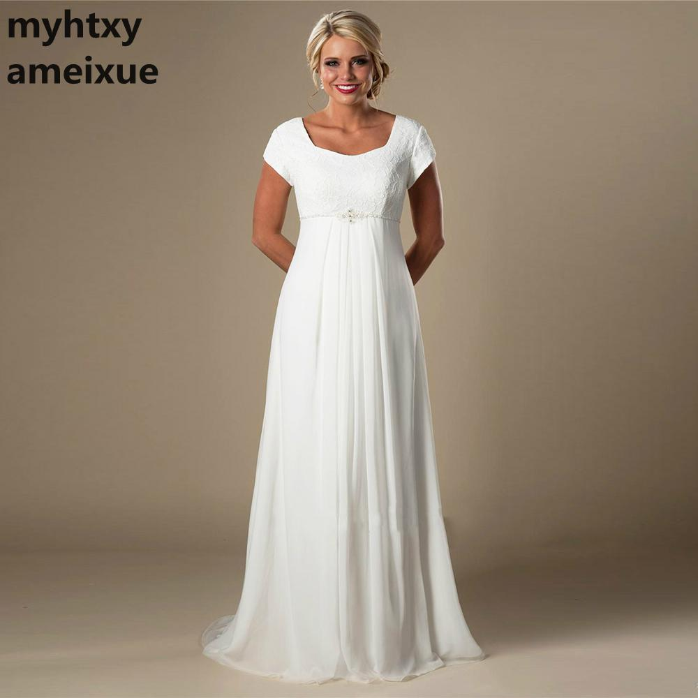 US $59.9 50% OFF|Plus Size Wedding Dress Lace Informal Lvory Beach Pregnant  Bridal Dress 2018 Short Sleeves Beaded Chiffon Empire Fast Shipping-in ...