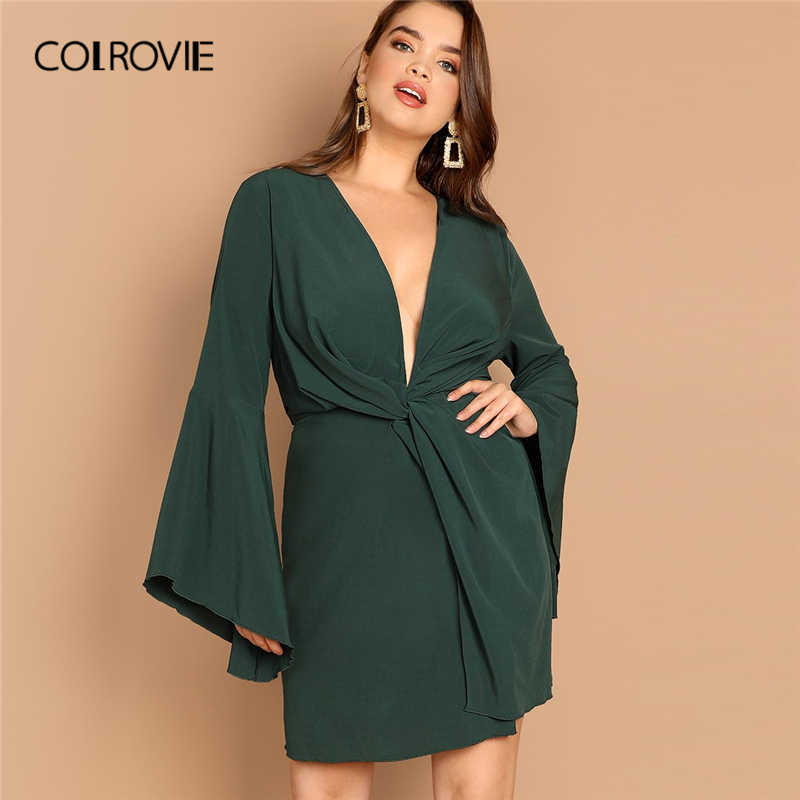 COLROVIE Plus Size Green Deep V Neck High Waist Bell Sleeve Party Dress  Women 2019 Spring 7560b49ea716