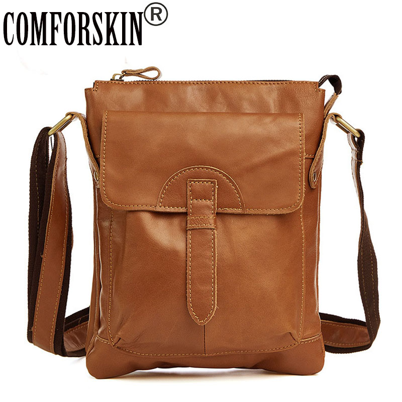 COMFORSKIN New Arrivals Cowhide Leather Messenger Bags Hot Vintage Style Men's Bag Guaranteed 2018 European and American Style цена
