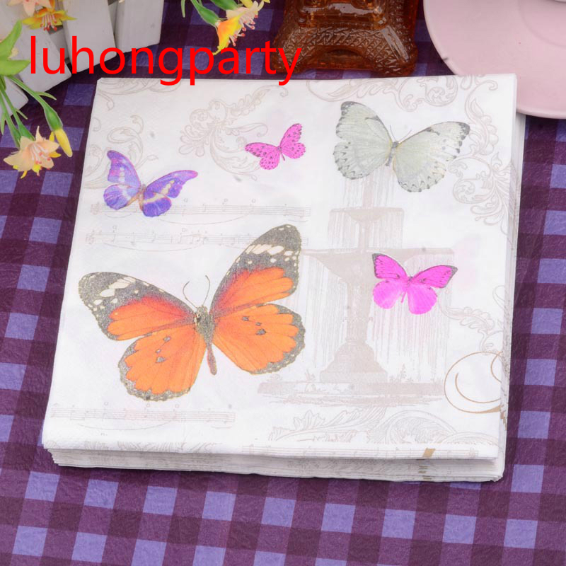 10pcs Butterfly Paper Napkin Festive & Party Tissue wedding Napkins Decoupage Decoration 33cm*33cm