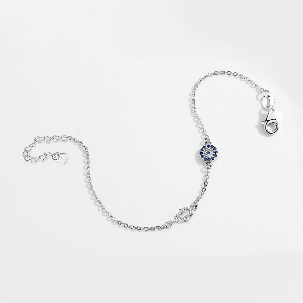 Kaletine 925 Ayar Gümüş Hamsa El Nazar Charm Bilezik Iyi Şanslar - Kostüm mücevherat - Fotoğraf 3