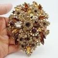 "3.94 ""Flor Única Gota Broche colgante Brown Rhinestone Crystal"