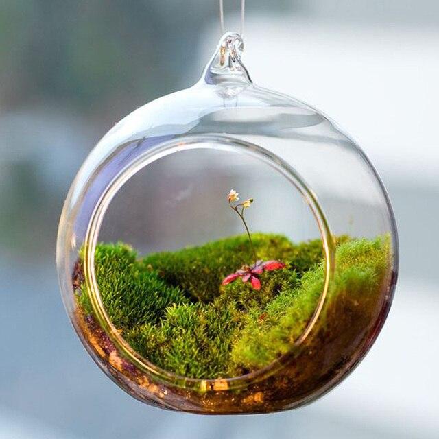 Transparent Ball Globe Shape Clear Hanging Glass Vase Flower Plants