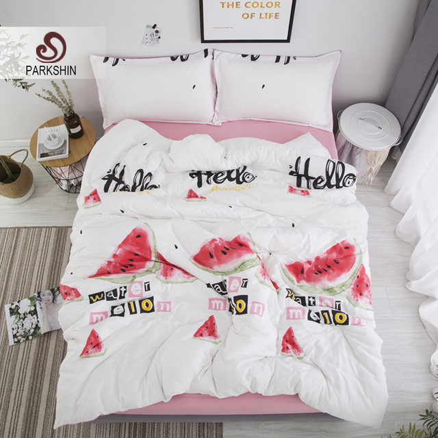Parkshin Bedding Set Cute Watermelon White Pink Double Bed Sheets