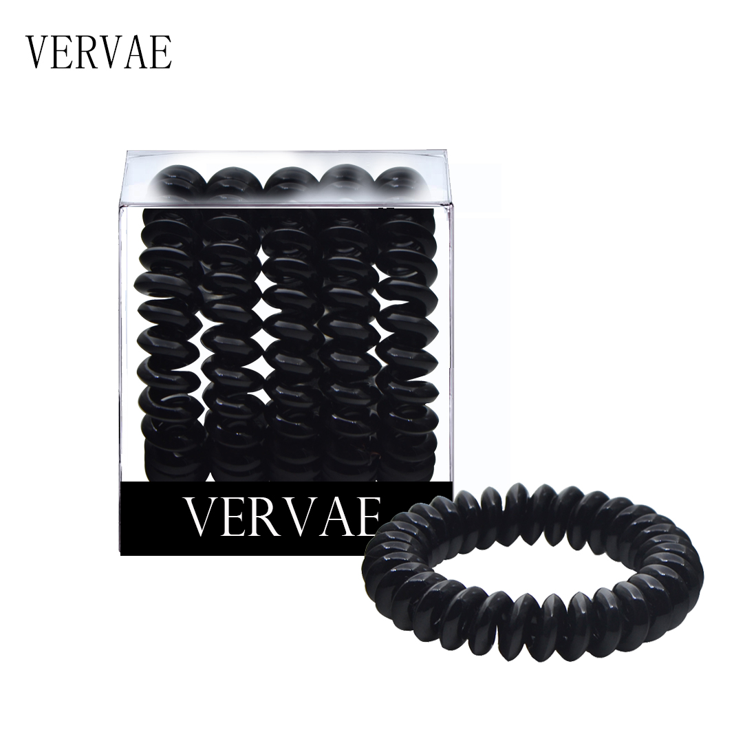 5 Pcs/set Elastic Hair Bands For Women Hair Accessories Girl's Black Coil Spiral Hair Ties Headwear Ponytail Holders 2019 VERVAE