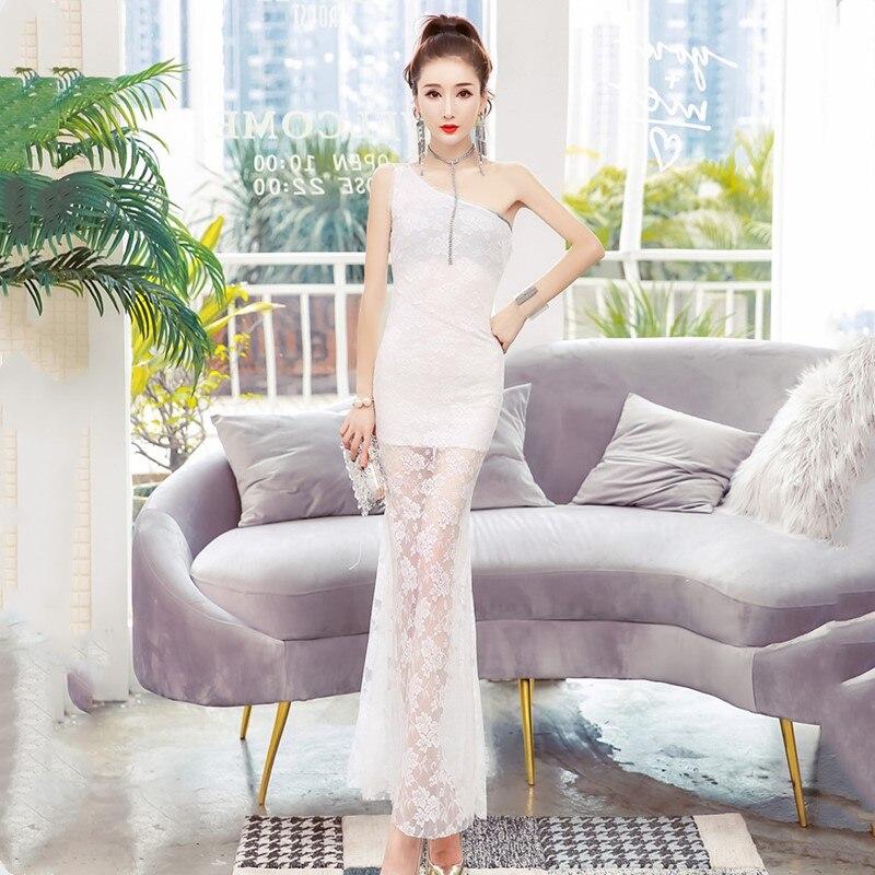 Oportunidad Real de temperamento Delgado bolsa de la cadera vestido Verano de 2019 nueva moda sexy un hombro vestido de encaje