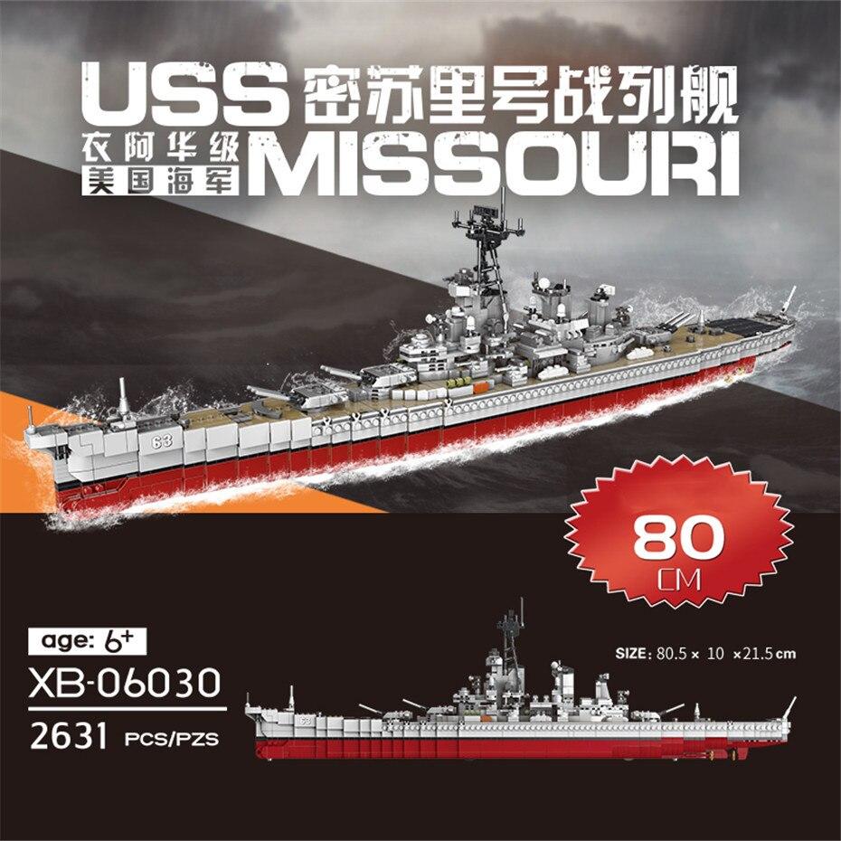 Xingbao 06020/06030 군대 시리즈 항공기 선박 uss 미주리 전함 세트 빌딩 블록 군함 벽돌 juguetes-에서블록부터 완구 & 취미 의  그룹 2
