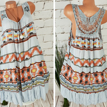 New 2019 European and American womens butterfly print sleeveless large size dress
