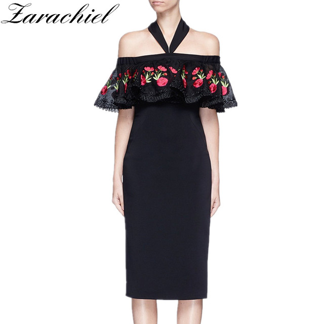 8218c6d4009 HIGH QUALITY 2018 Summer Runway Designer Women Sexy Off Shoulder Halter  Slash Neck Flower Embroidery Dress Ruffles Knee Dress