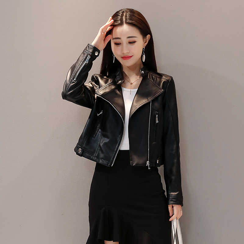2018 New Fashion Spring Autumn Black   Leather   Jacket Women Slim Long Sleeve Motorcycle Jacket Ladies Biker Zipper PU Short Coat