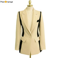HanOrange 2017 Patchwork Black Beige Long Sleeve Ol Slim Female Suit Jacket Women Long Blazer Single