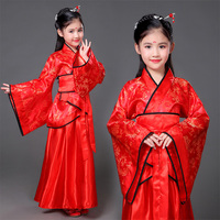 Children Traditional Ancient Chinese Silk Clothing Girls Red Hanfu Dance Costumes Folk Costume Kids Tang Fairy Dress DNV10724