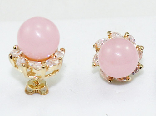 wholesale lady's new jewelry 10mm pink Natural Stone bead 18kgp crystal inlay stud earrings