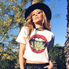 New Fashion Crop Top Casual Vestidos Printed Red Lips Flowers Women S T Shirts Brand Summer