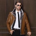 Winter sheepskin leather motorcycle fur suit collar Quality leather jacket thick fleece leather coat high quality jaqueta