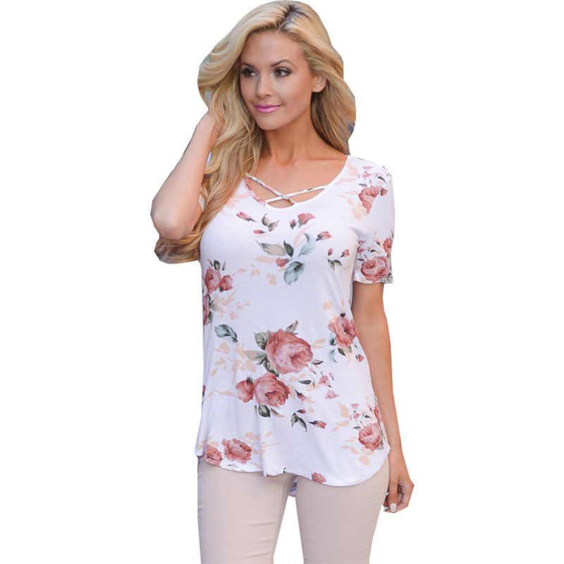 Tshirt 여성 2020 새로운 여름 유럽 v-목 크로스 꽃 인쇄 t-셔츠 품질 t 셔츠 여성 vestidos dropshipping nxb1135