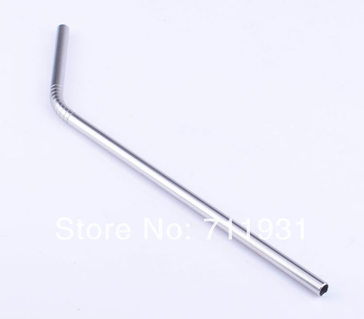 WOWSHINE Free shipping 6pcs/lot Metal drinking straw 6x215 bent stainless steel straw food grade rust free 18/8