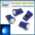 100 PCS AC DC 6.3 V T10 #555 pinball levou lâmpadas de luzes Não fantasmas/anti cintilação 5050SMD 6000 K peças da máquina de pinball para pinball