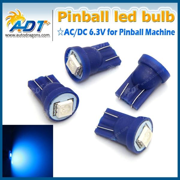 100PCS AC DC 6.3V T10 #555 pinball led lights bulbs Non ghosting/anti flickering 5050SMD 6000K pinball for pinball machine parts